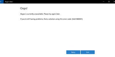 Skype Error Code 0xA1080001